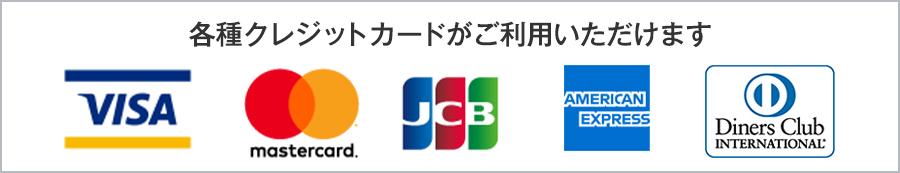 各種クレジットカードがご利用いただけます VISA mastercord JCB AMERIV¥CANEXPRESS DinersClub aplus